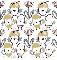 Easter seamless pattern with flowers chiks and vector