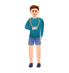 Excursion boy camera icon cartoon style vector