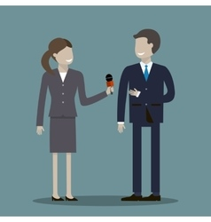 Female Journalist Interviewing Businessman vector image