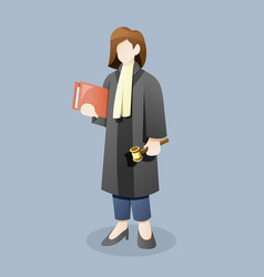 Female judge or lawyer carry document holding vector