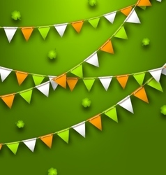 Festive Flags with Clovers for Happy Saint vector image