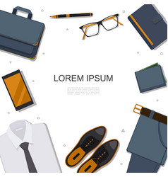 Flat businessman accessories template vector