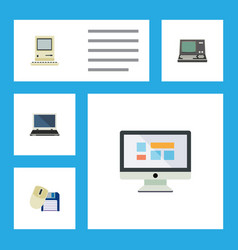 Flat icon computer set of technology computing vector