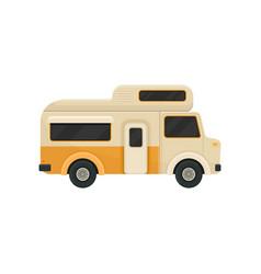 Flat icon of orange camper van trailer for vector