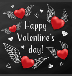 flying red hearts on a black chalkboard vector image