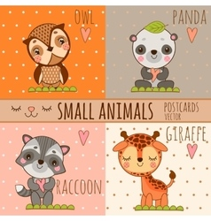 Four cute images of animals cartoon set vector image