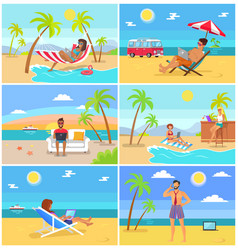 Freelancers in hot tropical countries in summer vector