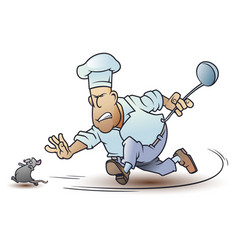 funny little men cook runs after mouse chef and vector image