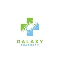 Galaxy space cross hospital pharmacy medical logo vector