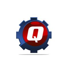 Gear logo letter q vector