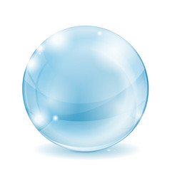 Glass sphere blue transparent glass ball vector