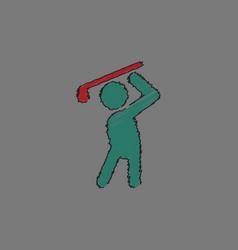 Golf sport golfer man in hatching style vector