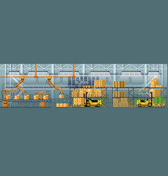 Goods packing automatic conveyor line vector