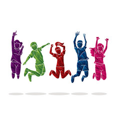 Group children jumping happy fun party vector