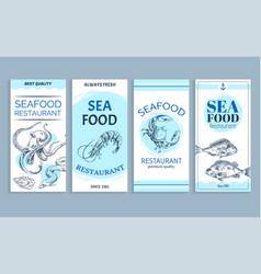 hand drawn seafood restaurant banner set vector image