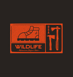 hand drawn travel badge with hiking boot axes and vector image