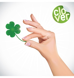 Hand Holding Clover vector