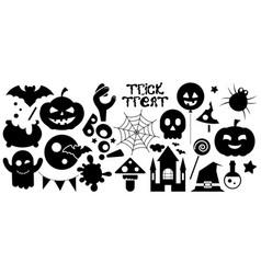 happy halloween black icons set vector image