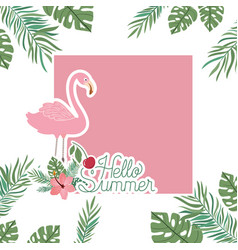 Hello summer label with flemish icon vector
