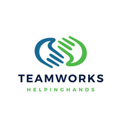 helping hand palm team work care logo icon vector image