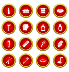 Hygiene tools icon red circle set vector