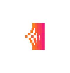 i letter pixel bit logo icon design vector image