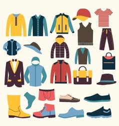 Icons set of Fashion elements men clothes vector