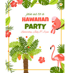 invitation card with tropical elements birds vector image