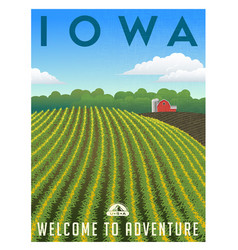 Iowa united states retro travel poster vector