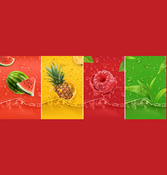 juicy and fresh fruit watermelon pineapple vector image