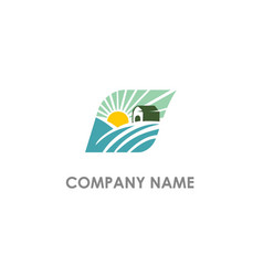Landscape village nature logo vector