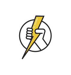 lightning hand logo vector image