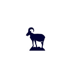 Logo of wild ram on mountain vector