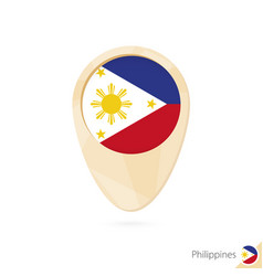 Map pointer with flag philippines orange vector