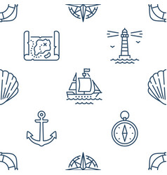 marine seamless pattern with line icons vector image