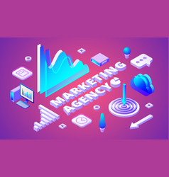 marketing agency isometric vector image