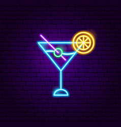 Martini cocktail neon sign vector