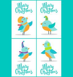 merry christmas birds set vector image