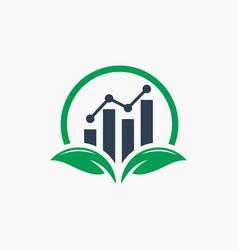 modern green leaf financial logo vector image