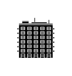 multi storey building black icon concept multi vector image