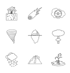 Natural catastrophe icons set outline style vector image