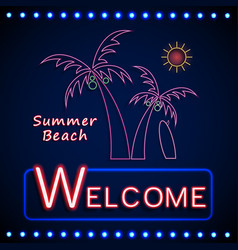 neon shining beach party with palm tree and sun vector image