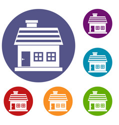 One-storey house icons set vector