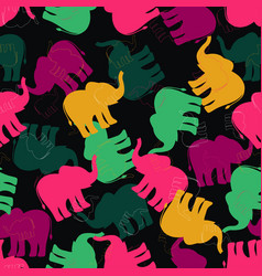 Pattern with multicolored elephants vector