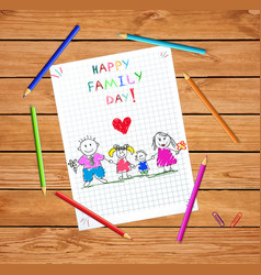 Perfect family holding hands of adopted children vector