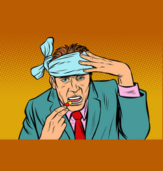 pop art man with headache takes a pills vector image