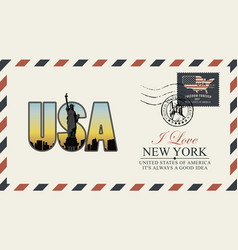Postcard with new york statue liberty vector