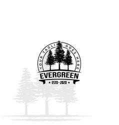 Retro vintage hipster pine spruce evergreen cedar vector