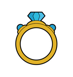 Ring with diamond engagement icon image vector