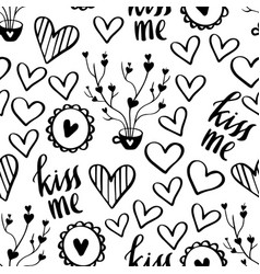 romantic doodle pattern with hearts-05 vector image